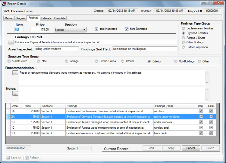 Screen Shot - ProWDO - Structural Pest Control Software