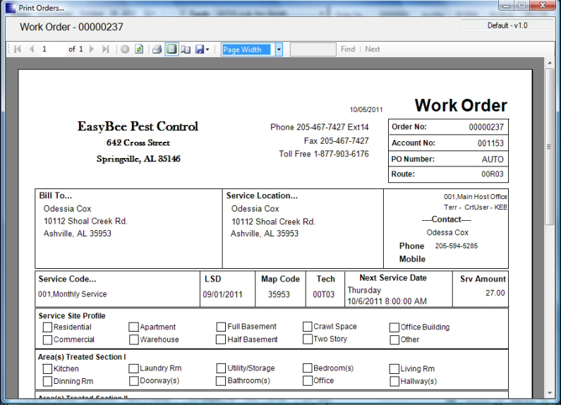 Pest Control Service Management Software - Printing Work Orders